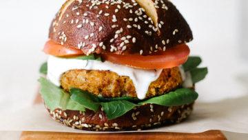 vegan cajun chickpea cauliflower burger