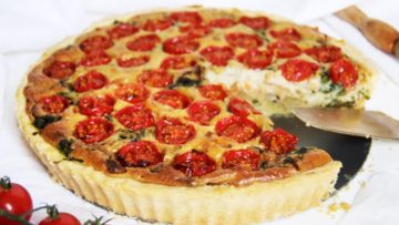 vegan cherry tomato and baby spinach quiche