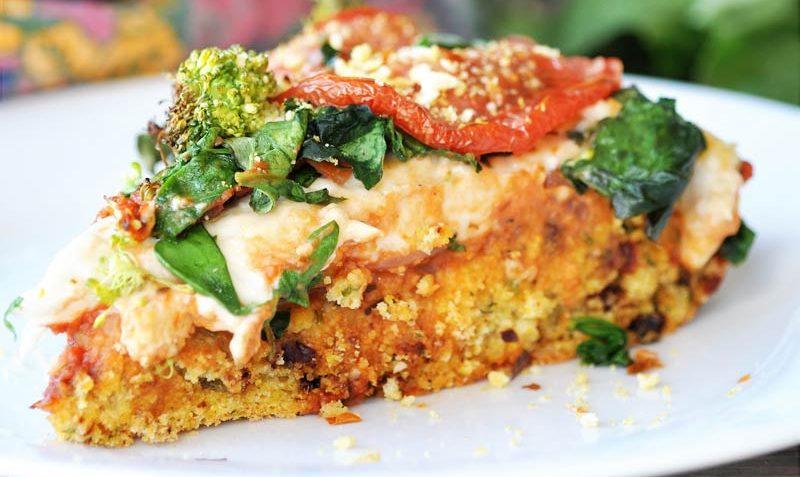 vegan deep dish pizza italian cornbread crust