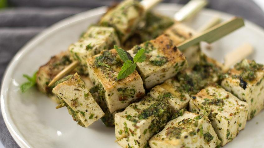 vegan grilled tofu kebobs with mint pesto
