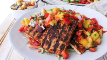 vegan grilled tofu taco salad with peach salsa