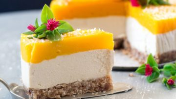 vegan mango and ginger cheesecake