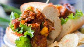 vegan mango barbecue tempeh sandwiches