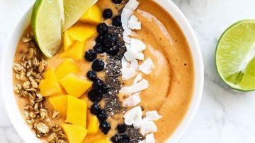 vegan mango lime smoothie bowl