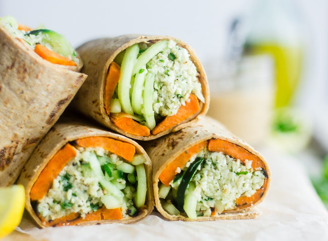 vegan mint grilled sweet potato with tahini cauliflower rice wrap