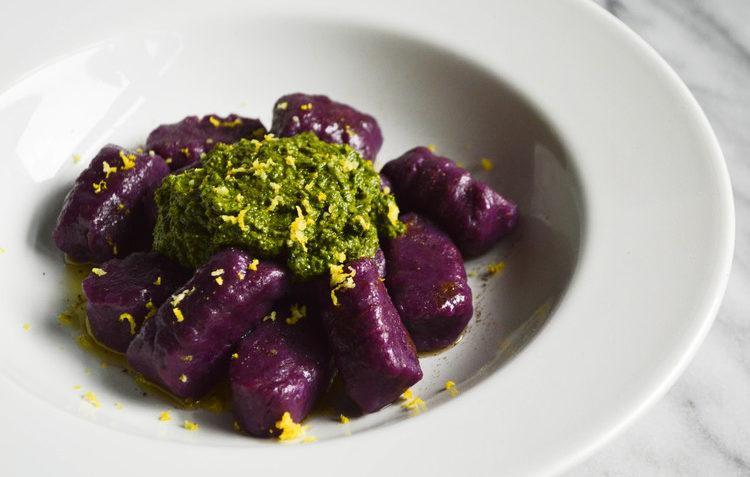 vegan purple sweet potato gnocchi
