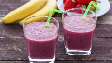 vegan strawberry and banana frappe